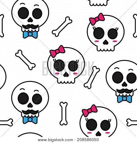 Cute sugar skull boy and girl seamless pattern vector