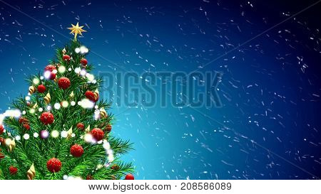 3d illustration of green Christmas tree over blue background with snowflakes and red balls.