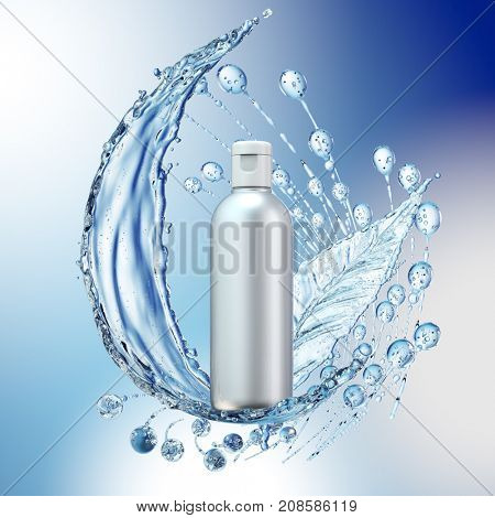 White cosmetic products with water splash on cyan background. 3d rendering