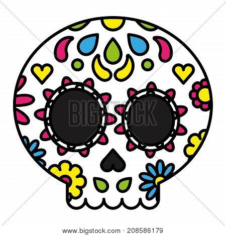 Sugar skull colorful floral day of the dead concept vector