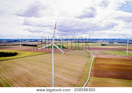Aerial Drone View On Wind Electricity Generator