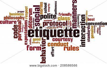 Etiquette word cloud concept. Vector illustration on white