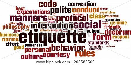 Etiquette word cloud concept. Vector illustration on white