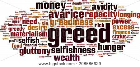 Greed word cloud concept. Vector illustration on white