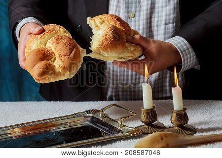 Sabbath Challahs Candlesticks With Lit Candles, And Challah