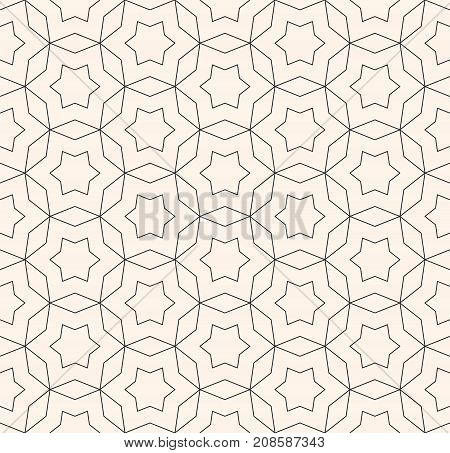 Vector monochrome seamless pattern, subtle ornamental background in oriental style, thin lines, star shapes, repeat geometric tiles. Delicate abstract texture. Design for prints, digital, web, decor. Ornament pattern. Star pattern. Hexagonal pattern