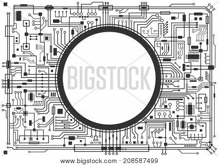 Computer circuit board with copy-space. Vector black illustration isolated on white.