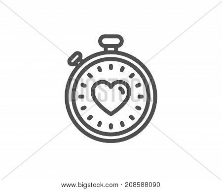 Heart In Timer Line Icon. Love Symbol.