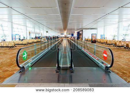 NEW DELHI, INDIA - CIRCA APRIL 2017: A travelator at Indira Gandhi International Airport.