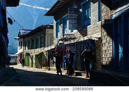 LUKLA, NEPAL - CIRCA JANUARY 2017: Lukla street scene. Lukla is at the start of the Everest Base Camp trek.