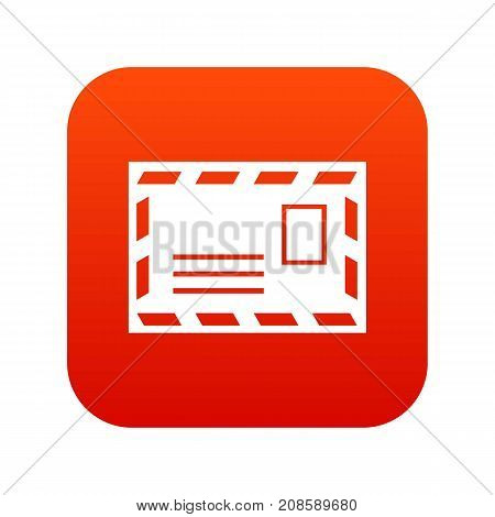 Postage envelope with stamp icon digital red for any design isolated on white vector illustration