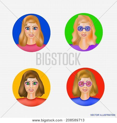 Illustration with avatars women. Cartoon image of a set of women . Avatars for employees for friends for business women. Emotion face avatars. Vector illustration.