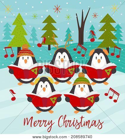 Merry Christmas card with choir penguins - vector illustration, eps