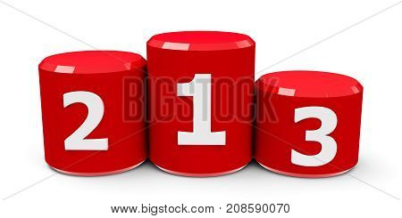 Red cylinder podium with three rank places three-dimensional rendering 3D illustration