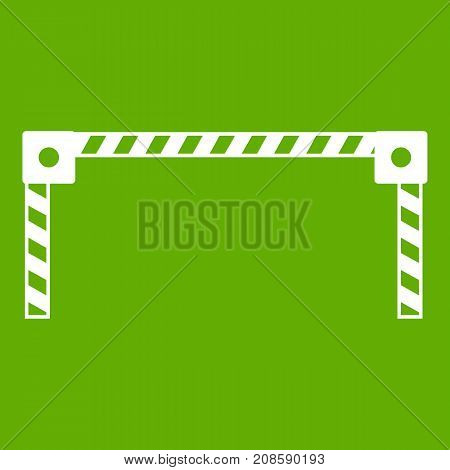 Barrier icon white isolated on green background. Vector illustration