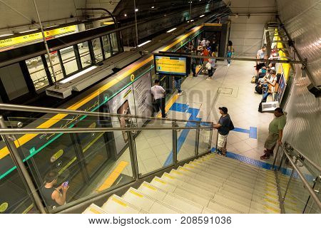 SAO PAULO BRAZIL - OCTOBER 12 2017: Horizontal picture from the top of the stairs of the platform metro station Paulista yellow line located in the city of Sao Paulo Brazil.