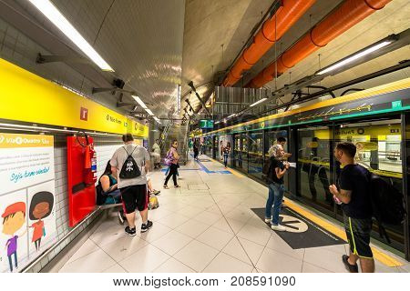 SAO PAULO BRAZIL - OCTOBER 12 2017: Horizontal picture of the platform of the metro station Paulista yellow line located in the city of Sao Paulo Brazil.
