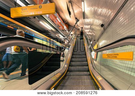 SAO PAULO BRAZIL - OCTOBER 12 2017: Wide angle picture of escalator at the platform of the metro station Paulista yellow line located in the city of Sao Paulo Brazil.