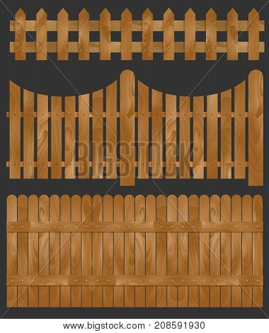 Wooden fence seamless sections. Isolated vector illustration