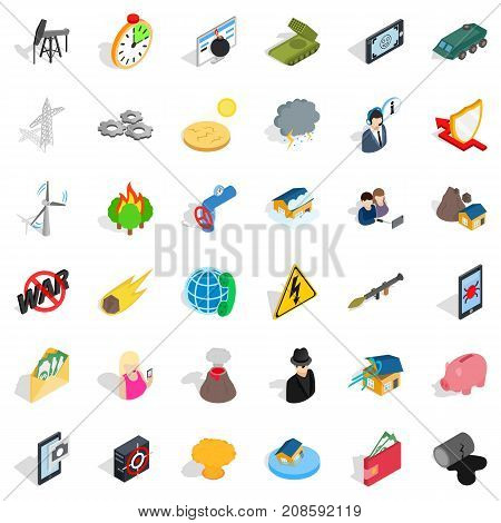Gadget icons set. Isometric style of 36 gadget vector icons for web isolated on white background