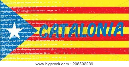 Catalonia blue typography text on estelada national flag textured background. Vector illustration for cards, banners, print, web