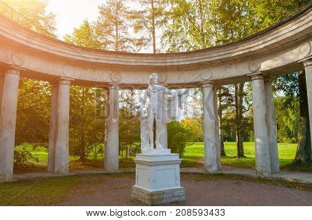 PAVLOVSK ST PETERSBURG RUSSIA - SEPTEMBER 21 2017. Colonnade of Apollo at the Pavlovsk Park territory in Pavlovsk St Petersburg Russia