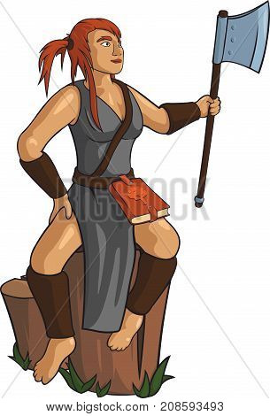 Young carpenter girl with massive axe on white background