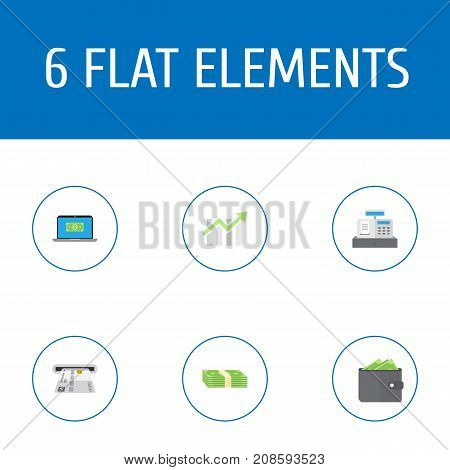 Flat Icons Till, Computer, Bar Diagram And Other Vector Elements