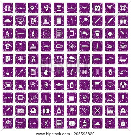 100 laboratory icons set in grunge style purple color isolated on white background vector illustration