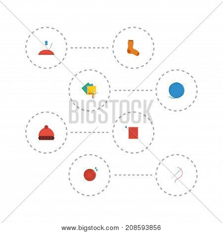 Flat Icons Needle, Pincushion, Beanie And Other Vector Elements
