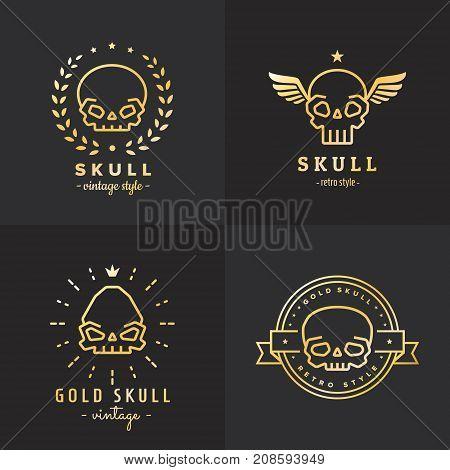 Skulls outline gold logo vector set. Vintage design. Part one.