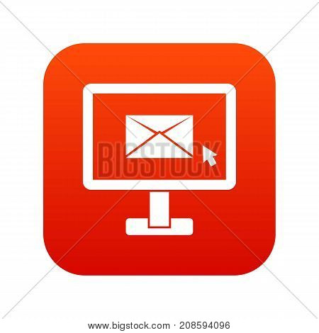 Monitor with email sign icon digital red for any design isolated on white vector illustration