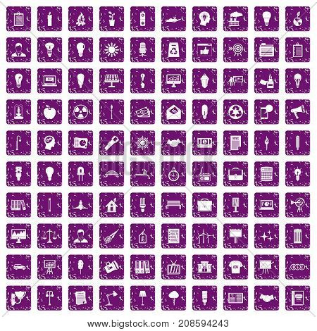 100 lamp icons set in grunge style purple color isolated on white background vector illustration