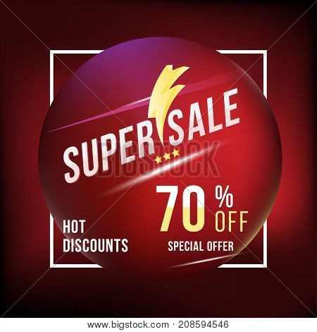 Super Sale 70 Discount Square Poster Format And Flyer. Template For Design Advertising And Banner On