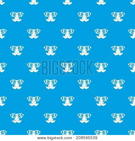 Clown face pattern repeat seamless in blue color for any design. Vector geometric illustration