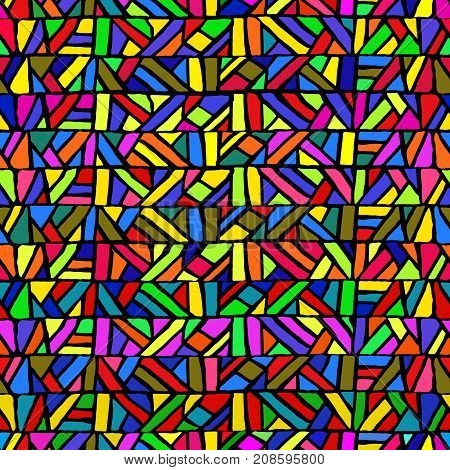 Seamless pattern in stained-glass style. Multicolored geometric elements. Colorful mosaic. Bright striped background. Blue, yellow, green, red, orange, pink and purple colors. Vector illustration.