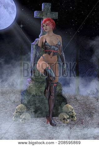 Goth girl in a cemetery. 3D Illustration.
