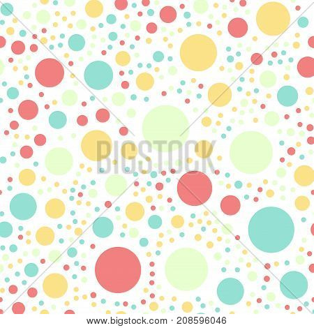 Colorful Polka Dots Seamless Pattern On White 16 Background. Exquisite Classic Colorful Polka Dots T