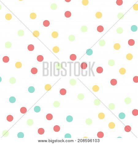 Colorful Polka Dots Seamless Pattern On White 16 Background. Alluring Classic Colorful Polka Dots Te