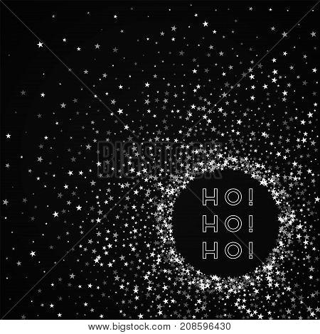 Ho-ho-ho Greeting Card. Amazing Falling Stars Background. Amazing Falling Stars On Red Background. A