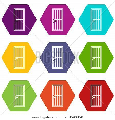 Steel door icon set many color hexahedron isolated on white vector illustration