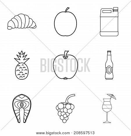 Light meal icons set. Outline set of 9 light meal vector icons for web isolated on white background
