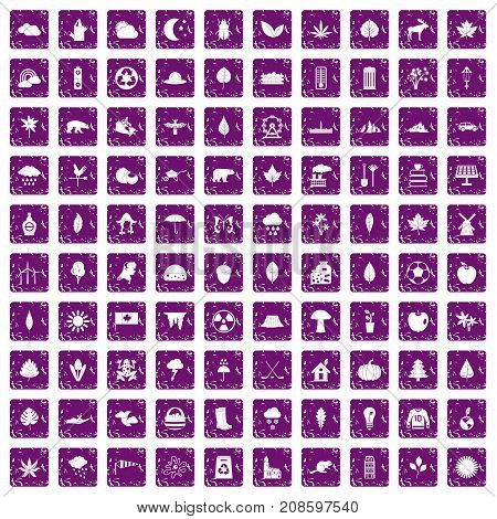 100 leaf icons set in grunge style purple color isolated on white background vector illustration