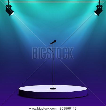 Microphone On Round Stage Scene. Spotlights With Light Beams On Colorful Background. Stand Up Show,