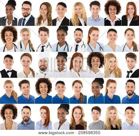 Collage Of Happy Multi-racial People Belonging From Different Professions