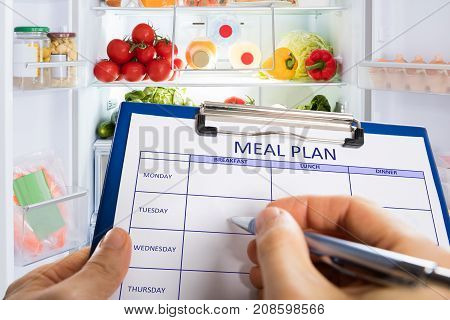 Person's Hand Filling Meal Plan Form On Clipboard