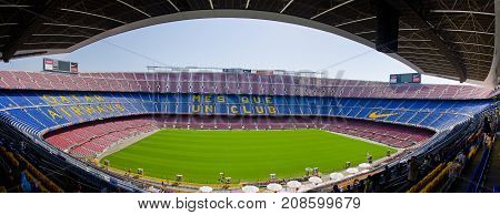 The famous stadium of FC Barcelona Camp Nou. Barcelona, June 2014