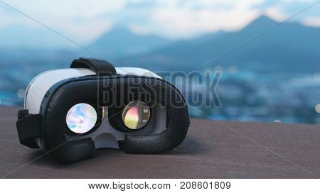 Virtual reality device playing movie inside