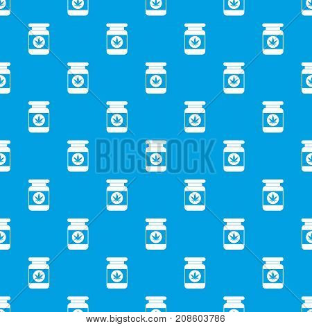 Jar of powder marijuana pattern repeat seamless in blue color for any design. Vector geometric illustration