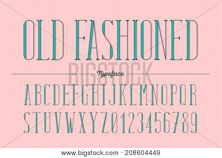 Old fashioned trendy retro type style alphabet typeface. Typeset vector illustration.